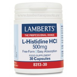 LAMBERTS L-Histidina HCl 500 mg, 30 cápsulas.